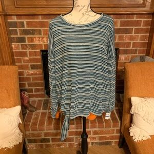 Style & Co Green Stripe Top with side tie NWT